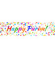 purim banner carnival paper confetti background vector image