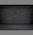 realistic black brick wall wood floor room vector image