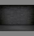 realistic black brick wall wood floor room vector image vector image