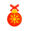 red christmas ball gift vector image vector image