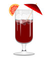 red cocktail with an orange slice vector image