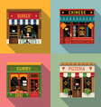 Restaurant Shopfront Icon Set vector image vector image