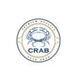rustic retro vintage stamp badge seafood crab vector image