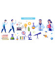 scientific laboratory flat set vector image vector image