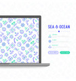 sea and ocean journey concept with thin line icons vector image vector image