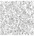 seamless floral pattern black and white drawing vector image vector image