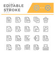 set editable stroke line icons document vector image