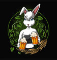 sexy rabbit offers a beer vector image vector image