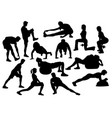 stretching activity silhouette vector image vector image