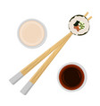 sushi roll on chopsticks vector image