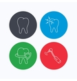 Tooth toothache and drilling tool icons vector image vector image