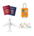 travel elements passport luggage travel case vector image