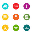 us world icons set flat style vector image vector image