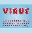 virus cartoon font coronavirus red alphabet vector image
