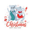 winter holiday christmas card with smiling vector image vector image
