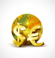 World economic concept with 3d gold world dollar vector image vector image