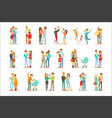 young and expecting parents with small babies and vector image vector image