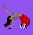 young woman dancing hip-hop or break-dance on the vector image vector image