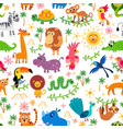 zoo jungle pattern seamless tropical vector image vector image