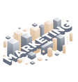 creative of three dimensional word marketing with vector image
