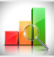 a graph and a magnifier vector image vector image