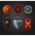 antique fantasy shields set weapons collection vector image vector image