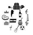 argentina travel items icons set simple style vector image vector image
