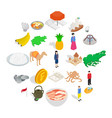 asian buildings icons set isometric style vector image