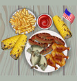 bbq grilled corn fish and french fries vector image vector image