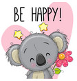 be happy greeting card with koala vector image vector image