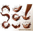 big set of splash of chocolate on transparent vector image vector image