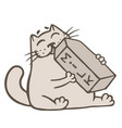 cartoon cat drinks a box of milk vector image vector image