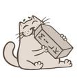 cartoon cat drinks a box of milk vector image