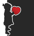 child with red heart silhouette vector image vector image