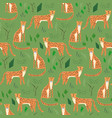 childish cartoon pattern with hand drawn jaguars vector image