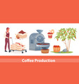 coffee farm industry production set agriculture vector image vector image