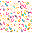 colorful jewelry icons seamless pattern vector image vector image