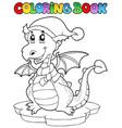 coloring book cute winter dragon vector image