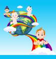 cute baby sliding on rainbow in sky vector image