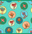 cute multicolor flowers in circles pattern vector image vector image