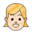drawing face girl happy expression cartoon vector image