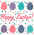 easter card with easter eggs on white background vector image
