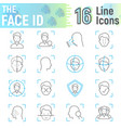 face id thin line icon set face recognition signs vector image