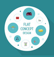 flat icons housekeeping carpet vacuuming towel vector image vector image