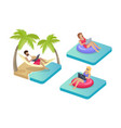 freelance workers on beach vector image vector image