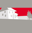 graphic drawing a house outside city vector image
