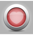 gray chrome button with heart vector image vector image