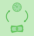Green time is money vector image
