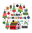 greeting card with christmas decoration vector image