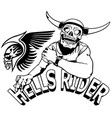 hells rider black drawing vector image